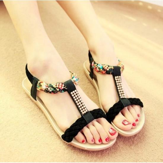 Sandalias para mujer, suela plana, cuero sintetico ZAP00036D