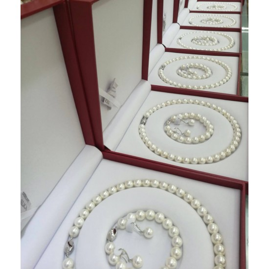 Conjunto de perlas cultivadas de agua dulce que incluye una impresionante pulsera, collar y aretes PUL00021