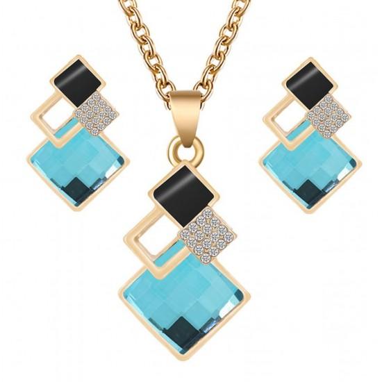 Juego de joyas hipoalergénicas con colgante de cristal de Swarovski para mujer PUL00012