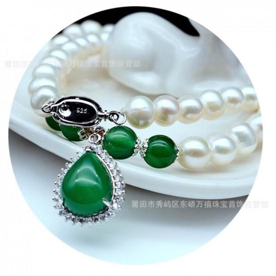 Juego de collar, pulsera y aretes de perlas cultivadas y ágata PUL00035