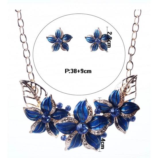 Juego de joyas vintage con diseño de flores, con cristales de imitación PUL00013