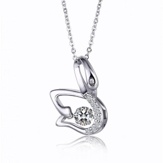 Collar con colgante de cisne con cristales de imitacion PUL00023