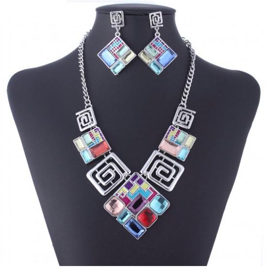Juego de joyas collar + aretes con cristales de imitación PUL00015
