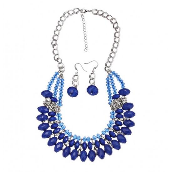 Juego de regalo para mujer collar + aretes con cristales PIL00016