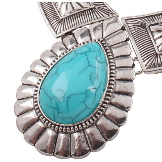 Collar de acero inoxidable con colgante de piedra en forma de lagrima PUL00017