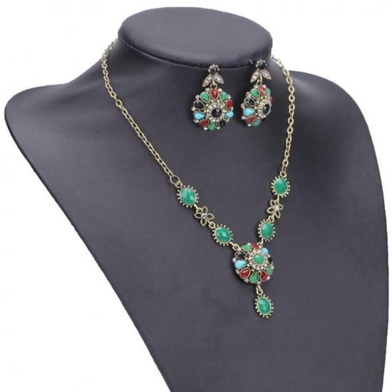 Juego de 3 piezas collar y aretes de acero inoxidable con cristales de imitacion PUL00018