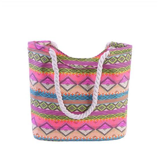Bolsa de playa grande con bolsillo interior con cremallera y asa de cuerda BOL00112