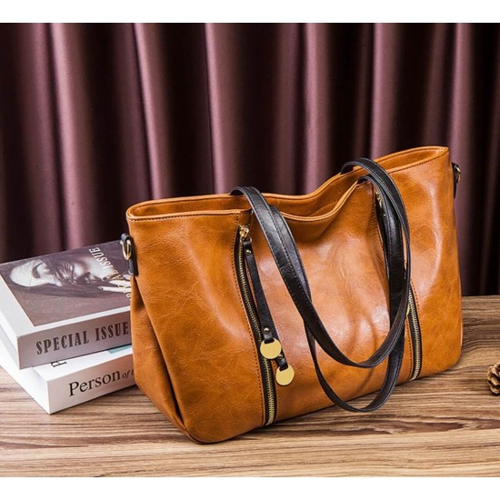 Bolso de mano para mujer, piel sintética, suave, con cremallera, gran capacidad BOL00166