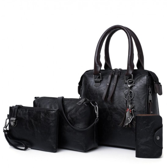 Juego de 4 bolsas multiusos con borla para mujer, estilo retro y simple BOL00072