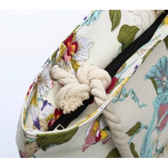 Bolsa de playa grande con bolsillo interior con cremallera y asa de cuerda BOL00113
