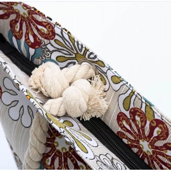 Bolsa de playa grande con bolsillo interior con cremallera y asa de cuerda BOL00114