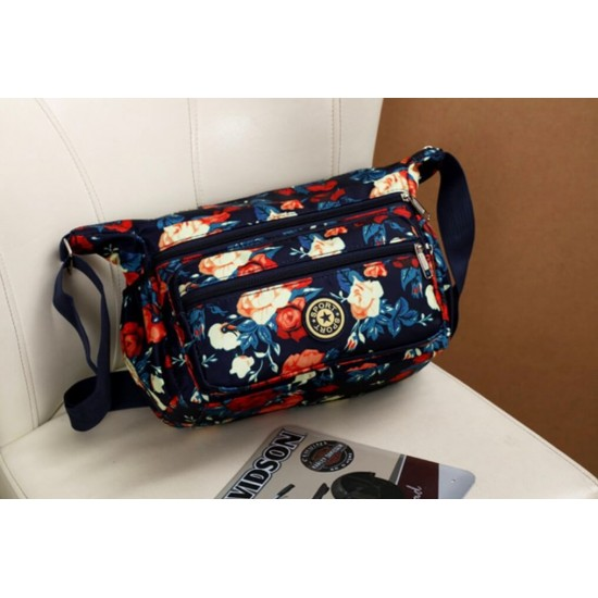 Bolso bandolera para mujer, de nailon, diseño floral, resistente al agua BOL00125