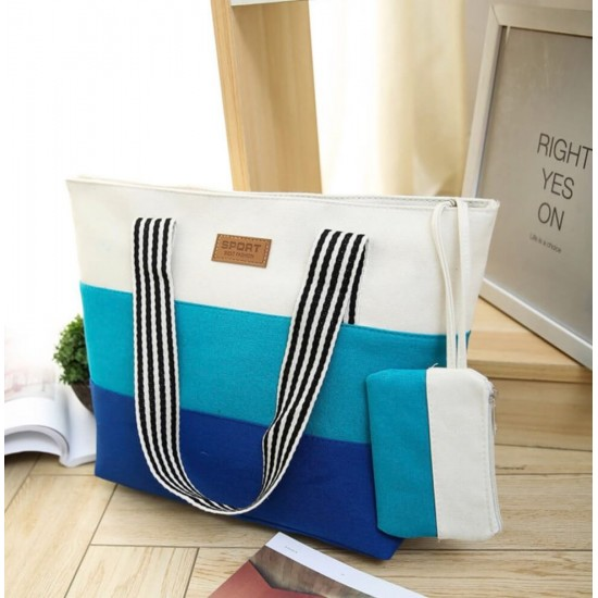 Bolsa de lona de algodón, diseño de rayas BOL00118