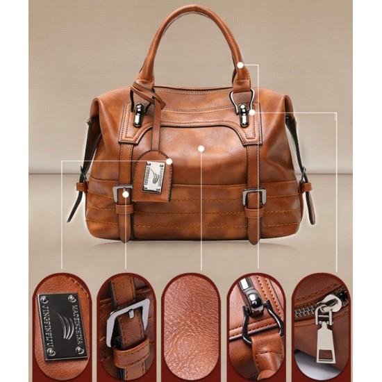 Bolso de mano para mujer, piel sintética, suave, con cremallera, gran capacidad BOL00180