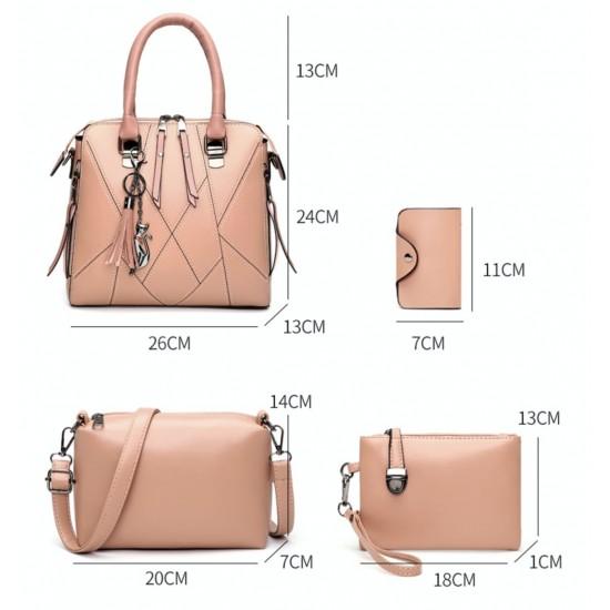 Bolsos de piel sintética para mujer, bolsa de hombro, monedero+tarjetero, 4 unidades BOL00077