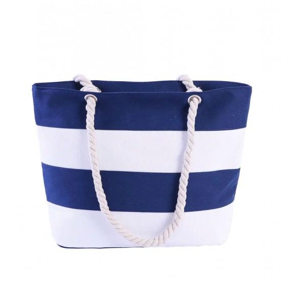 Bolsa de playa grande con bolsillo interior con cremallera y asa de cuerda BOL00111