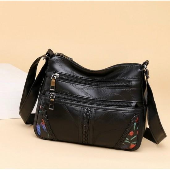 Bolsas de hombro de cuero autentico con múltiples bolsillos para mujer, gran capacidad BOL00191