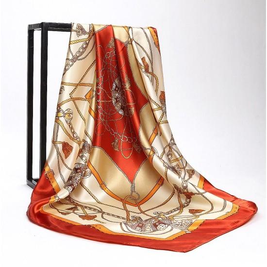 Pañuelo de seda para mujer grande, cuadrado y satinado BUF00001D