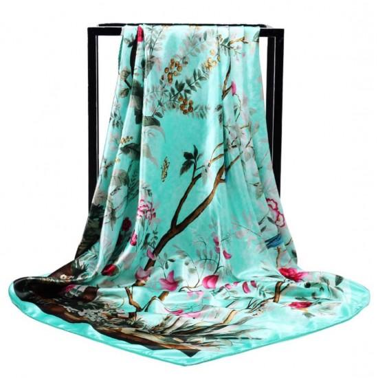 Pañuelo de seda para mujer grande, cuadrado y satinado BUF00003A
