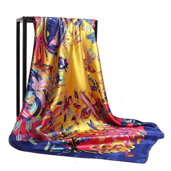 Pañuelo de seda para mujer grande, cuadrado y satinado BUF00005A