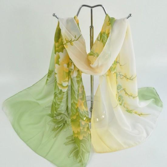 Bufanda de gasa ligera con estampado floral BUF00007H