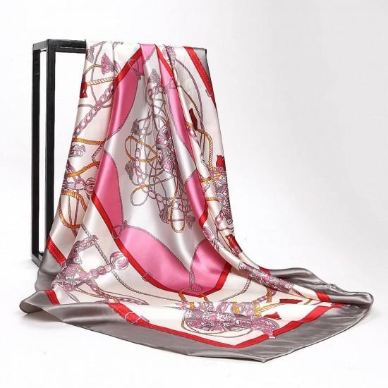 Pañuelo de seda para mujer grande, cuadrado y satinado BUF00001E