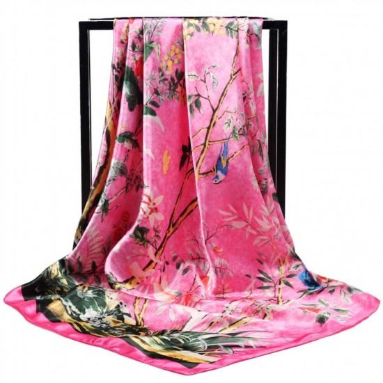Pañuelo de seda para mujer grande, cuadrado y satinado BUF00003B