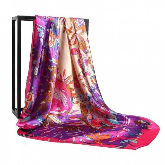 Pañuelo de seda para mujer grande, cuadrado y satinado BUF00005B