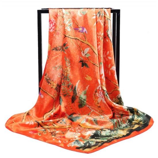 Pañuelo de seda para mujer grande, cuadrado y satinado BUF00003C