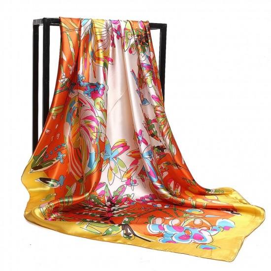 Pañuelo de seda para mujer grande, cuadrado y satinado BUF00005C