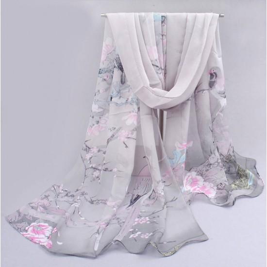 Bufanda de gasa ligera con estampado floral BUF00006K