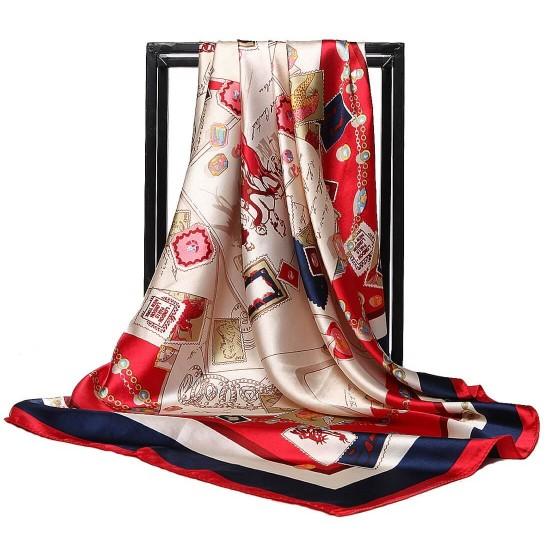 Pañuelo de seda para mujer grande, cuadrado y satinado BUF00002A