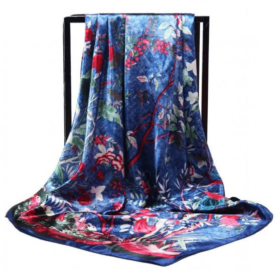 Pañuelo de seda para mujer grande, cuadrado y satinado BUF00003D
