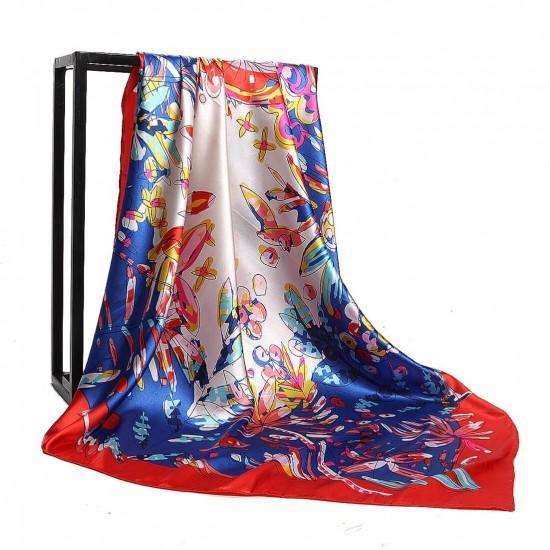 Pañuelo de seda para mujer grande, cuadrado y satinado BUF00005D