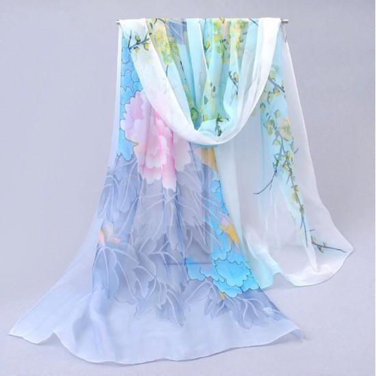 Bufanda de gasa ligera con estampado floral BUF00007A