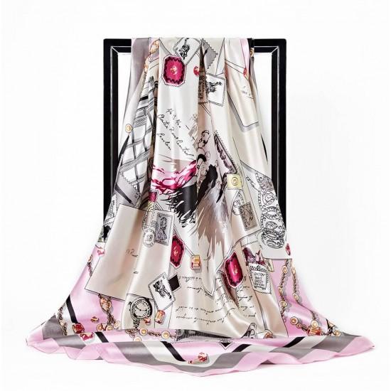 Pañuelo de seda para mujer grande, cuadrado y satinado BUF00002B
