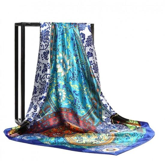 Pañuelo de seda para mujer grande, cuadrado y satinado BUF00004A