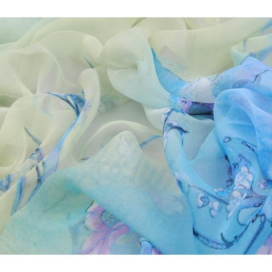 Bufanda de gasa ligera con estampado floral BUF00006A