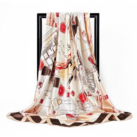Pañuelo de seda para mujer grande, cuadrado y satinado BUF00002C