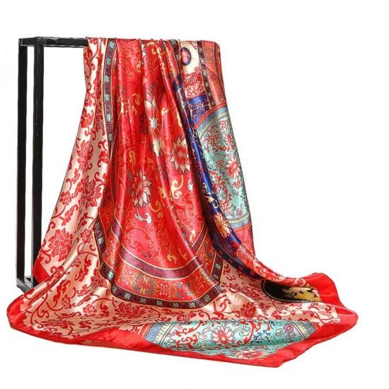 Pañuelo de seda para mujer grande, cuadrado y satinado BUF00004B