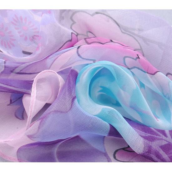 Bufanda de gasa ligera con estampado floral BUF00007C