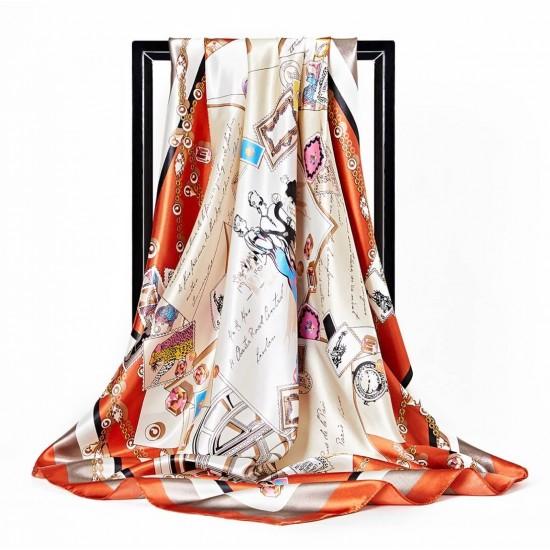 Pañuelo de seda para mujer grande, cuadrado y satinado BUF00002D