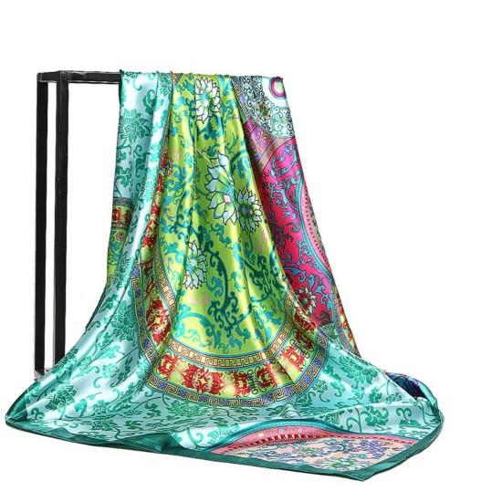 Pañuelo de seda para mujer grande, cuadrado y satinado BUF00004C