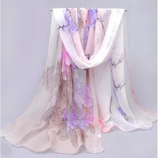 Bufanda de gasa ligera con estampado floral BUF00007D
