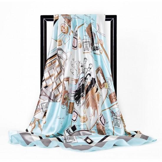 Pañuelo de seda para mujer grande, cuadrado y satinado BUF00002E