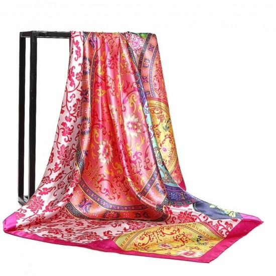 Pañuelo de seda para mujer grande, cuadrado y satinado BUF00004D