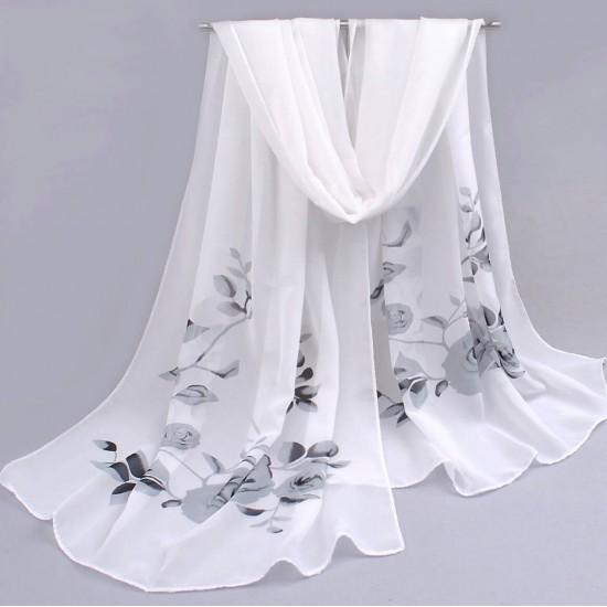 Bufanda de gasa ligera con estampado floral BUF00006D