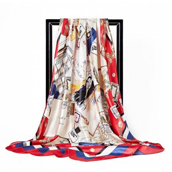 Pañuelo de seda para mujer grande, cuadrado y satinado BUF00002F