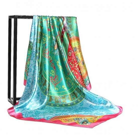 Pañuelo de seda para mujer grande, cuadrado y satinado BUF00004E