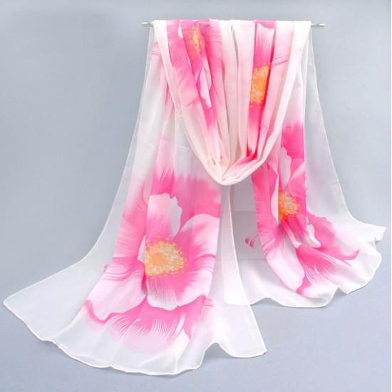 Bufanda de gasa ligera con estampado floral BUF00006E